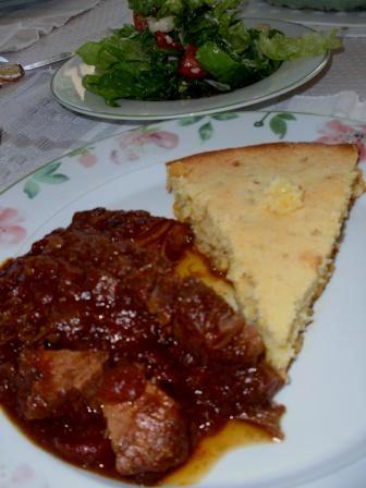 Beef Brisket with Cornbread and Salad