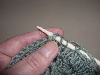Picking up stitches with knitting needle