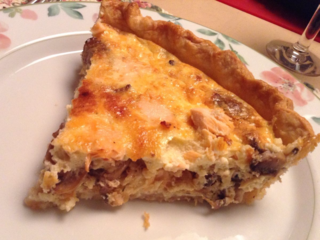Salmon and mushroom quiche